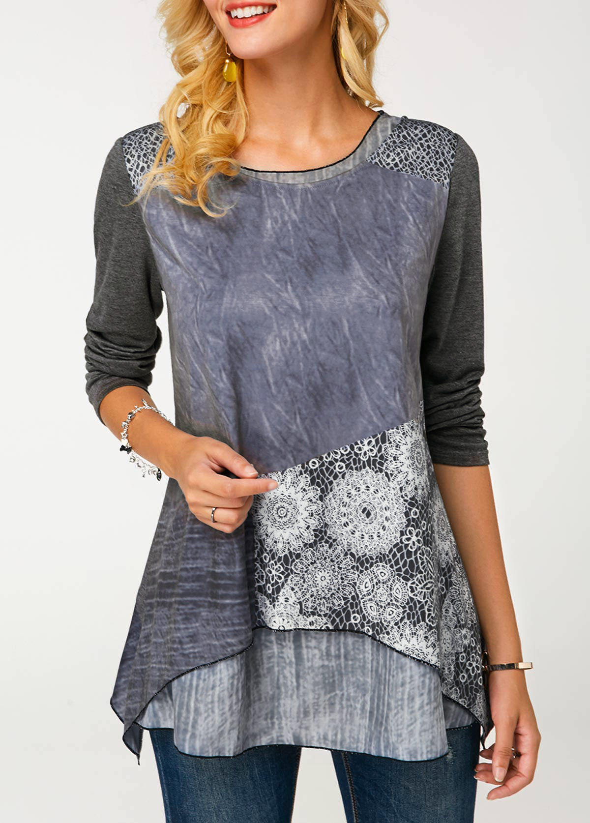 ROTITA Long Sleeve Crew Neck Printed Layered Tunic T Shirt