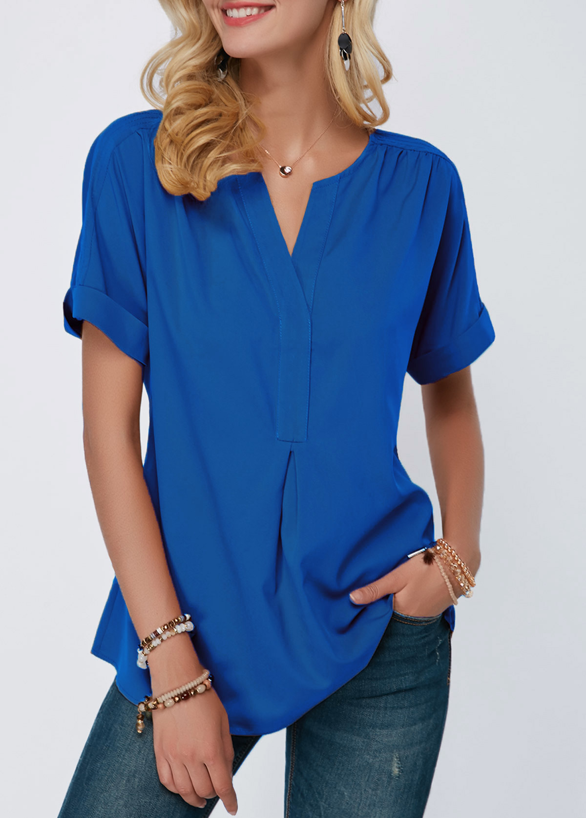 ROTITA Royal Blue Split Neck Short Sleeve Blouse