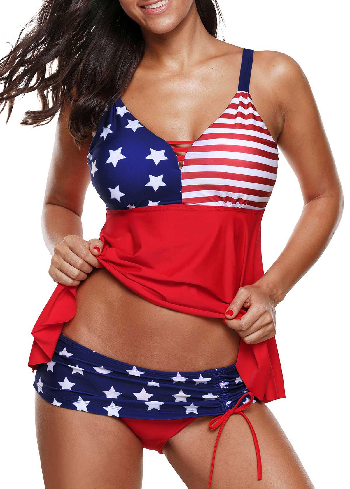 ROTITA Asymmetric Hem American Flag Print Tankini Top and Panty