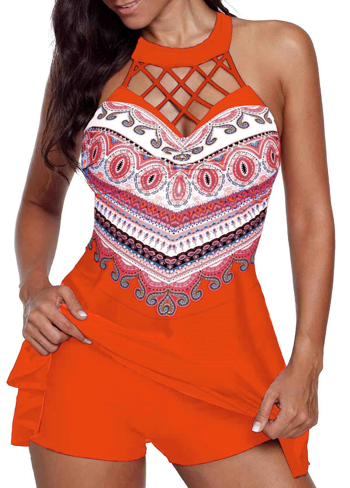 ROTITA Orange Red Cage Neck Swimdress and Shorts