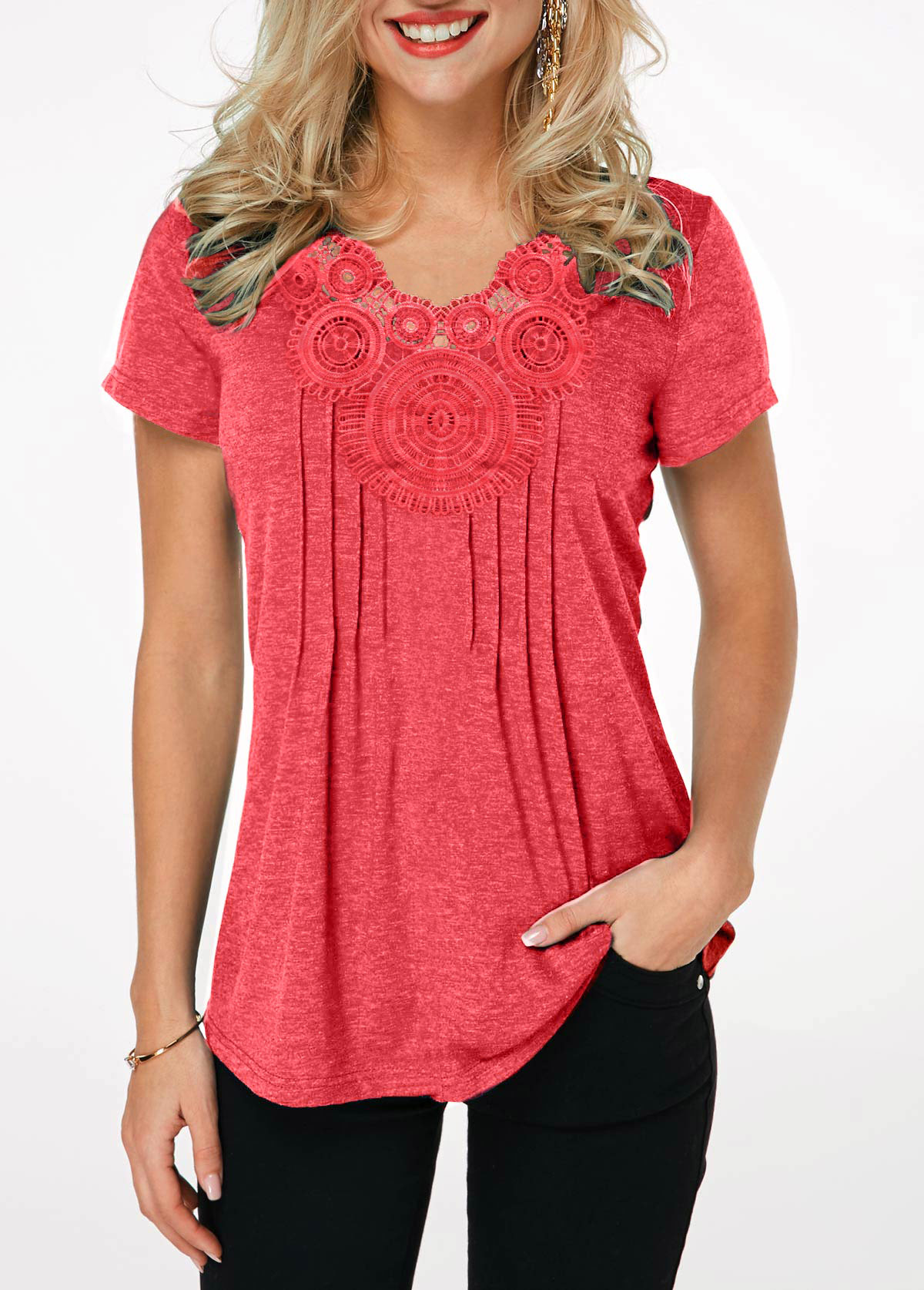 ROTITA Crinkle Chest Coral Red Short Sleeve T Shirt