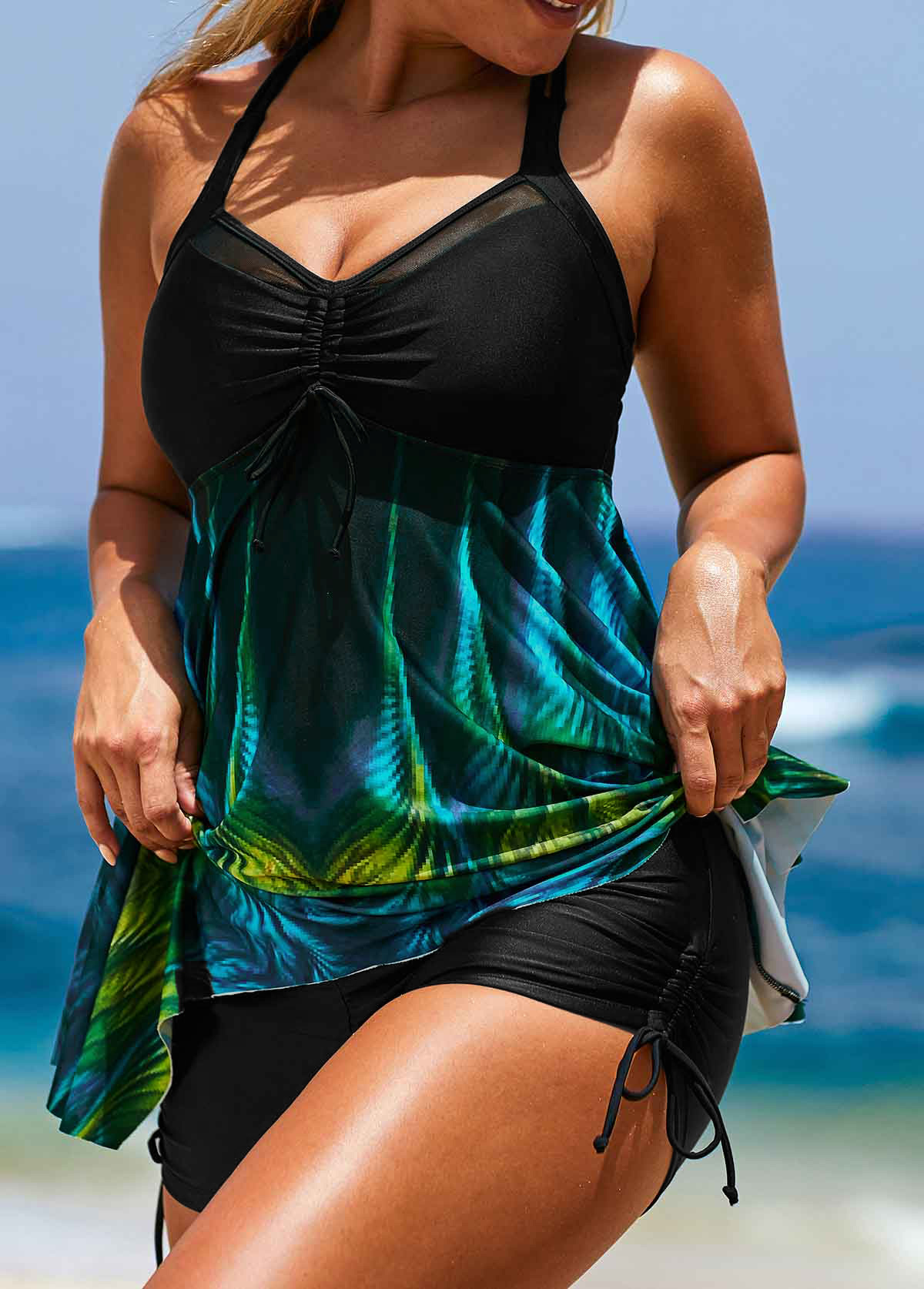 ROTITA Asymmetric Hem Black Printed Tankini Top and Short