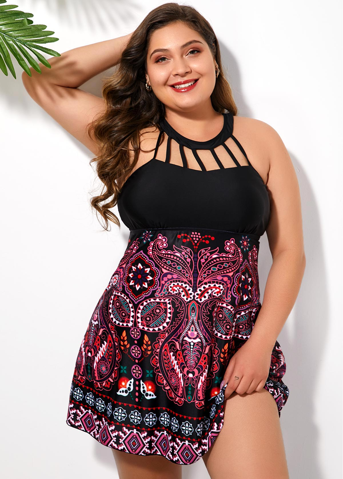 ROTITA Folk Print Plus Size Cage Neck Swimdress and Shorts
