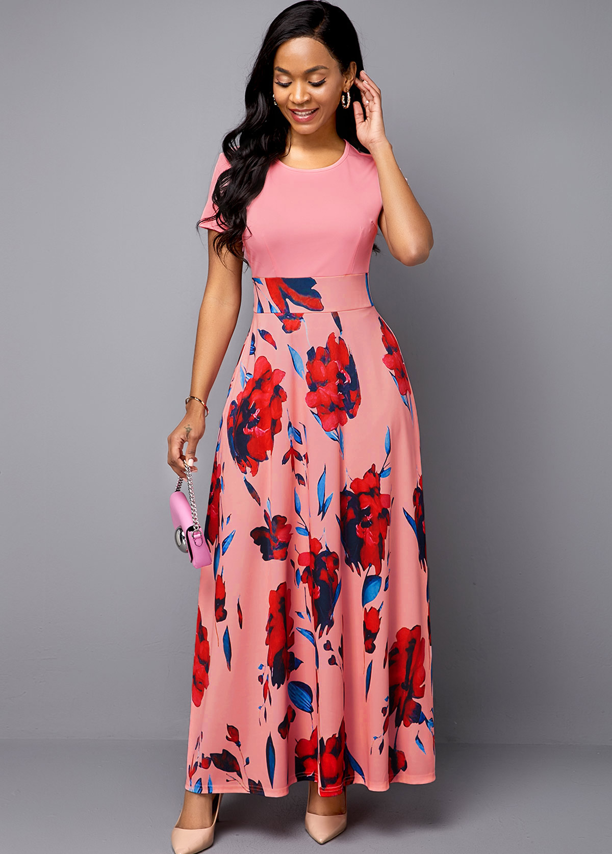 ROTITA Short Sleeve Pink Flower Print Midi Dress