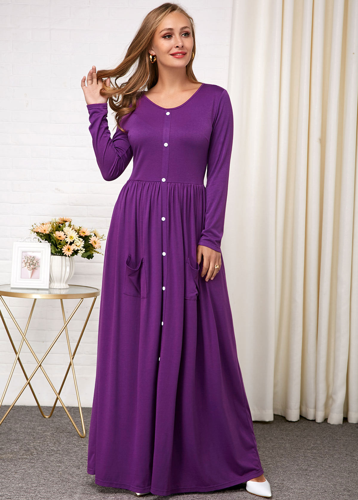 Button Detail Long Sleeve Purple Round Neck Dress