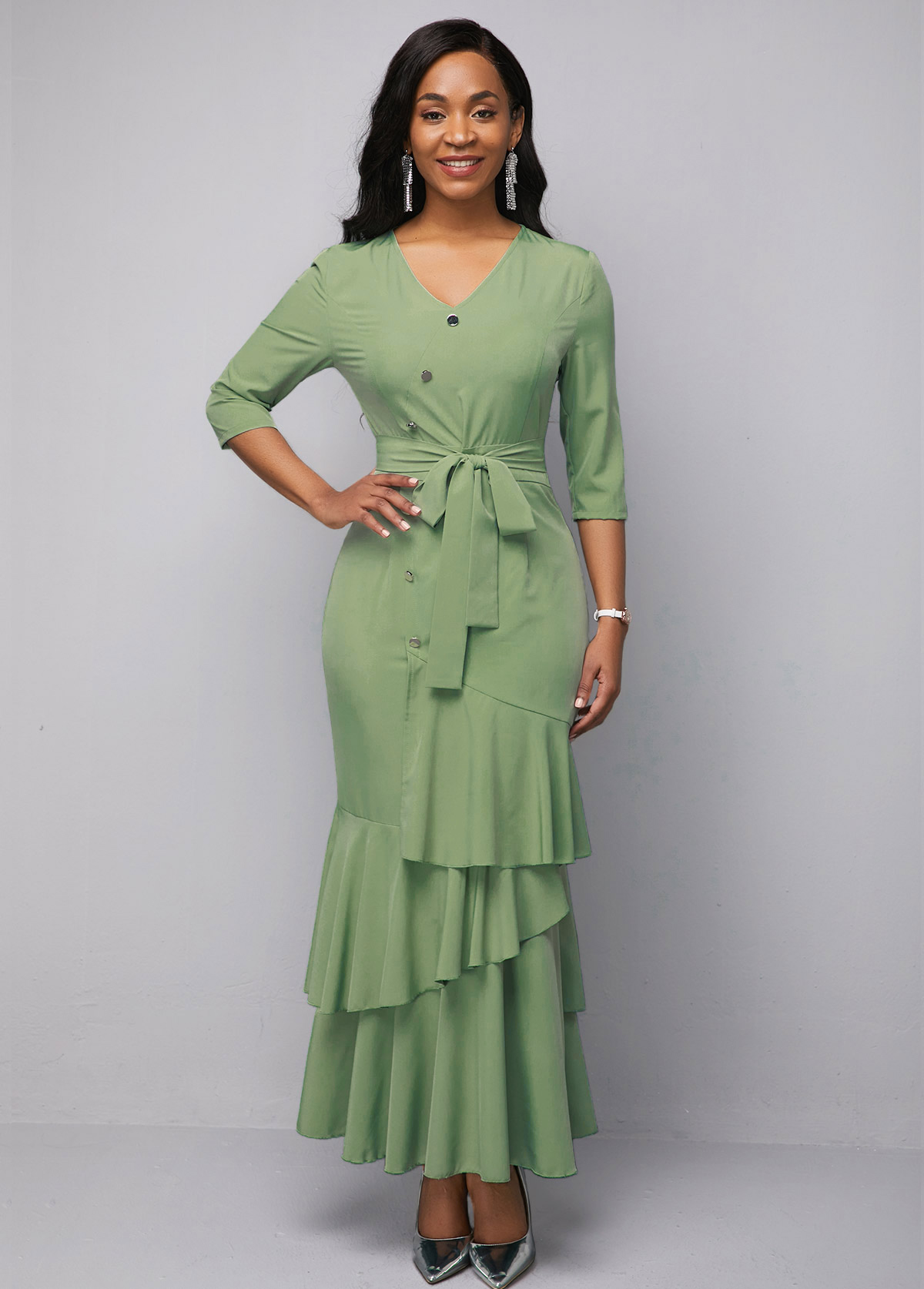 Button Detail V Neck Ruffle Hem Sage Green Chiffon Dress