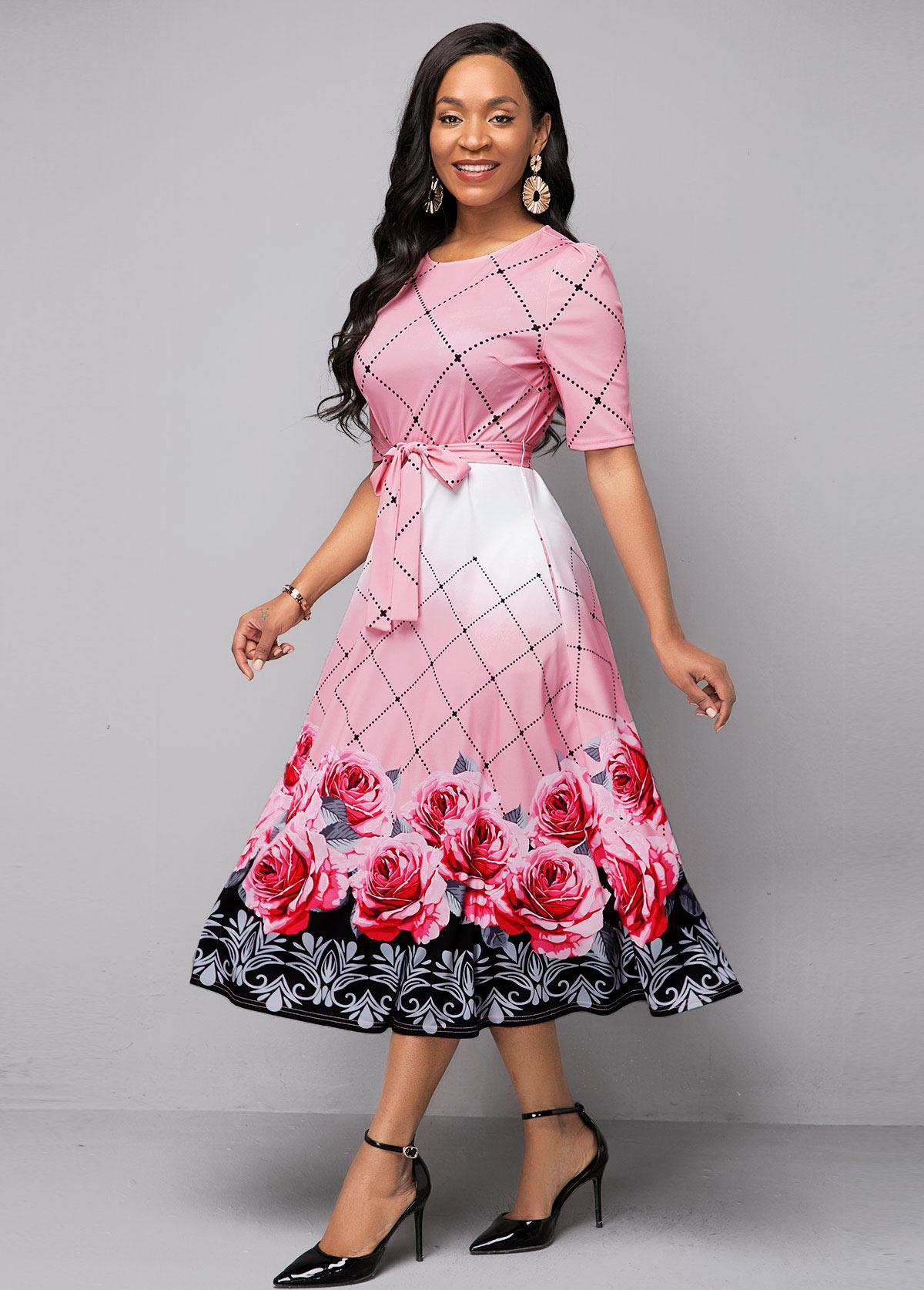 Belted Round Neck Floral Print Dress