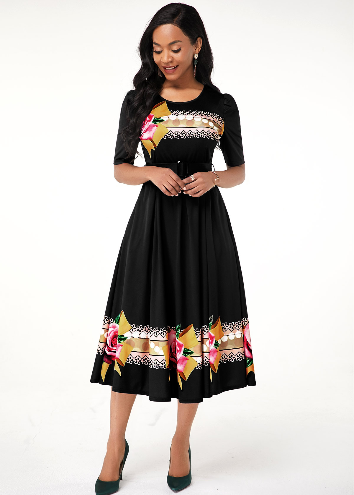 Round Neck Black Flower Print Dress