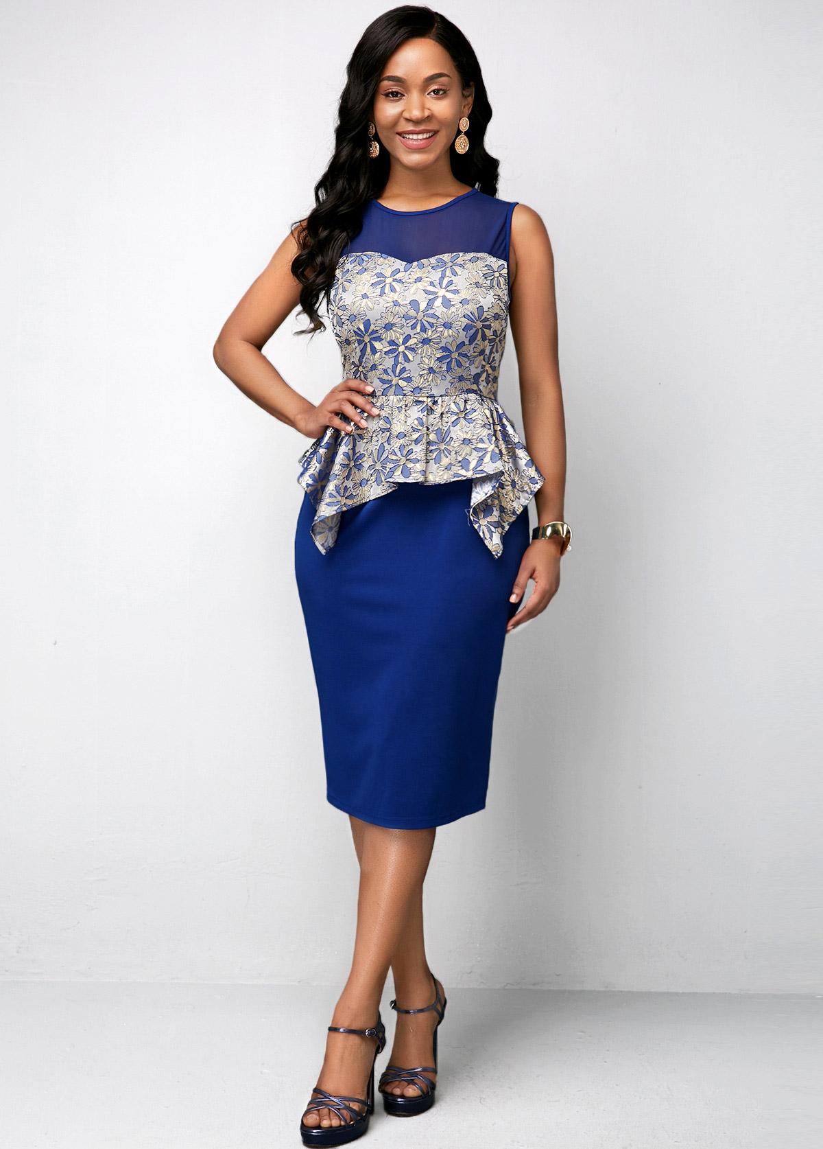 Asymmetric Hem Round Neck Sleeveless Dress
