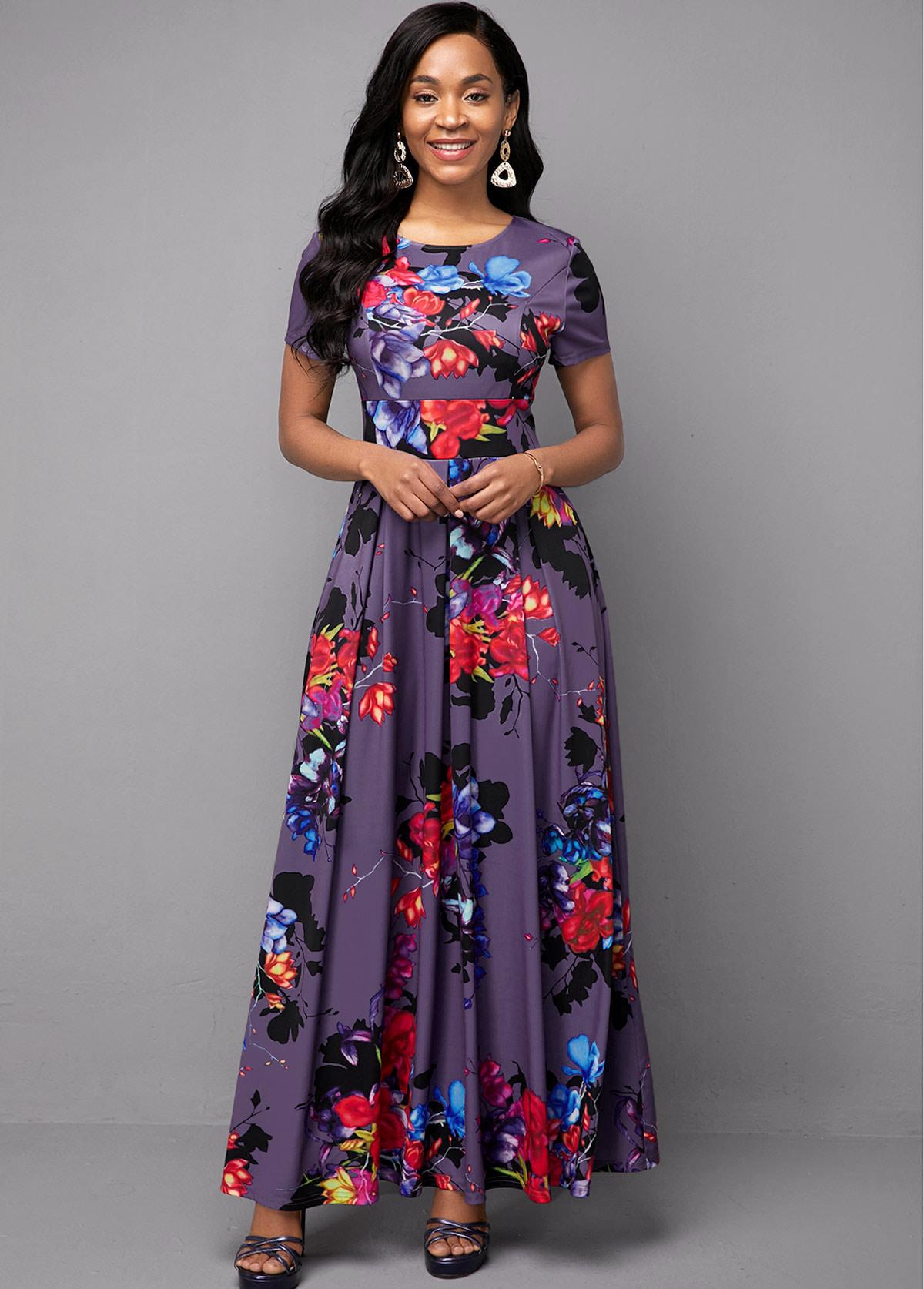 Flower Print High Waist Short Sleeve Dress