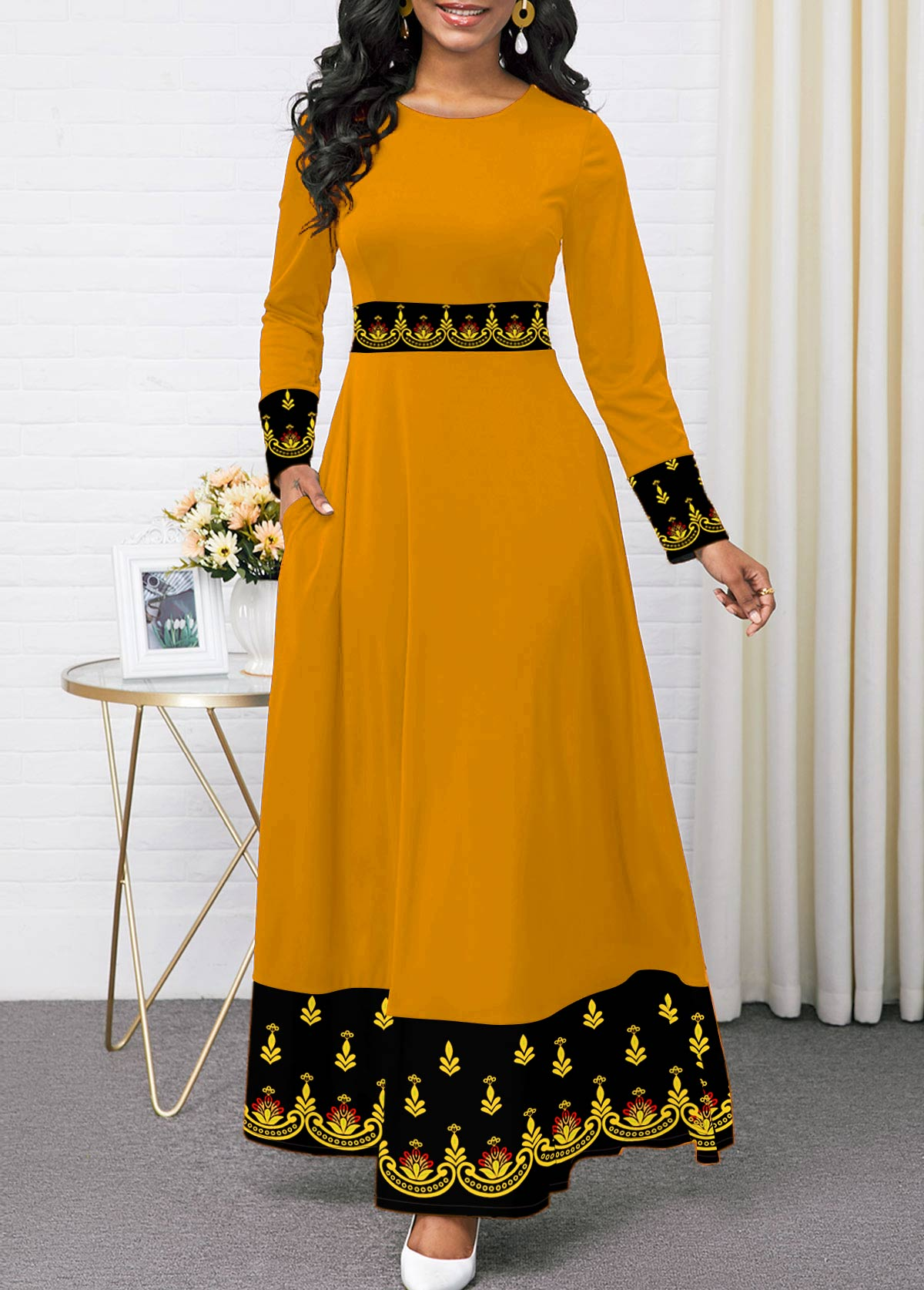ROTITA Round Neck Long Sleeve Printed Maxi Dress
