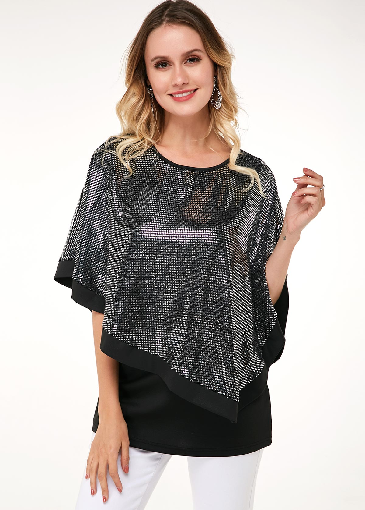 ROTITA Round Neck Black Tank Top and Sequin Cape T Shirt