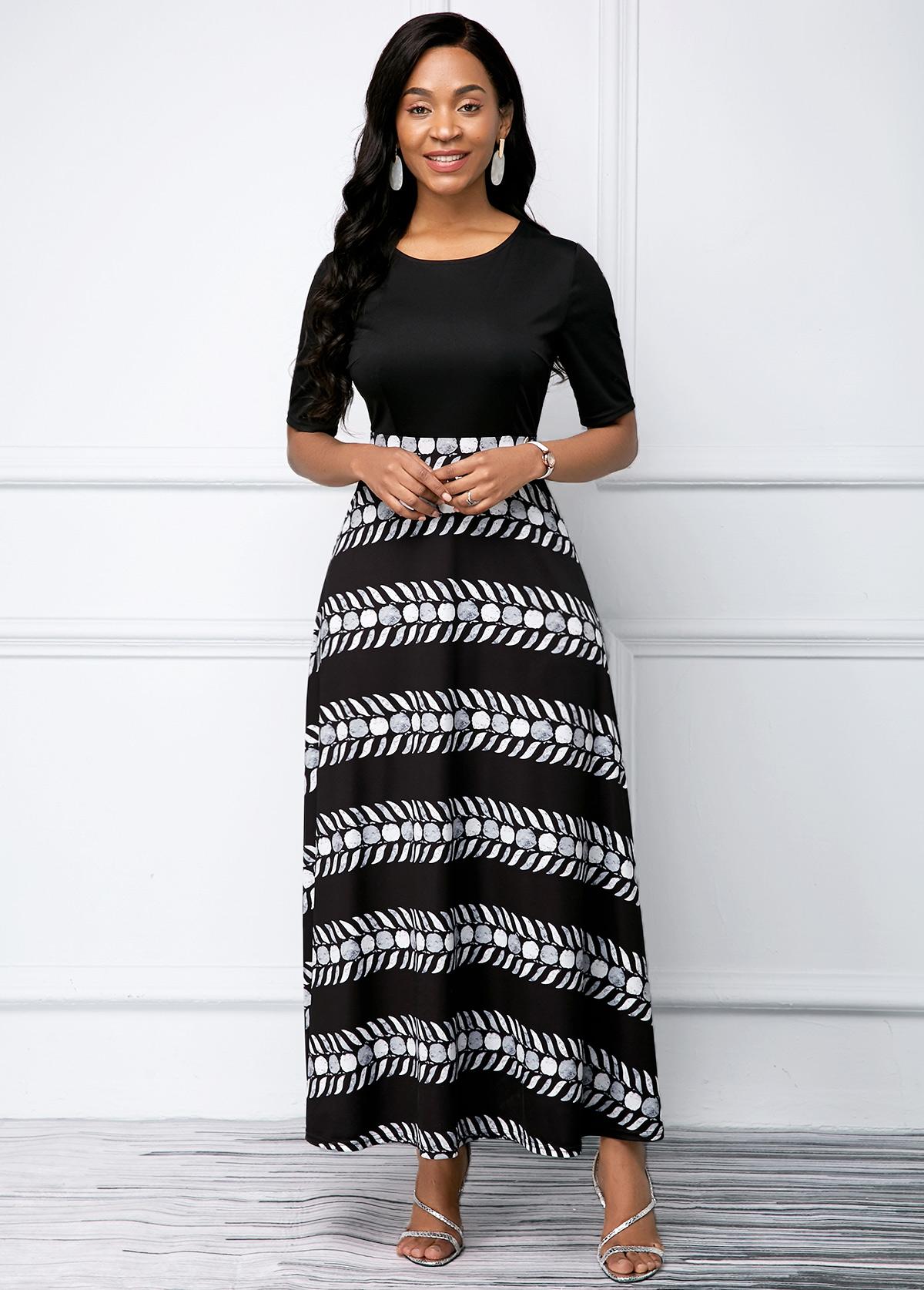 ROTITA Printed Round Neck Black Half Sleeve Dress