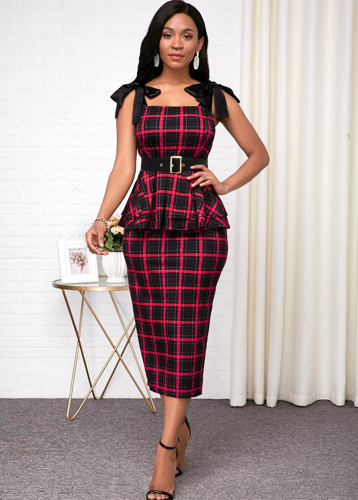 ROTITA Bowknot Plaid Print Belted Red Dress