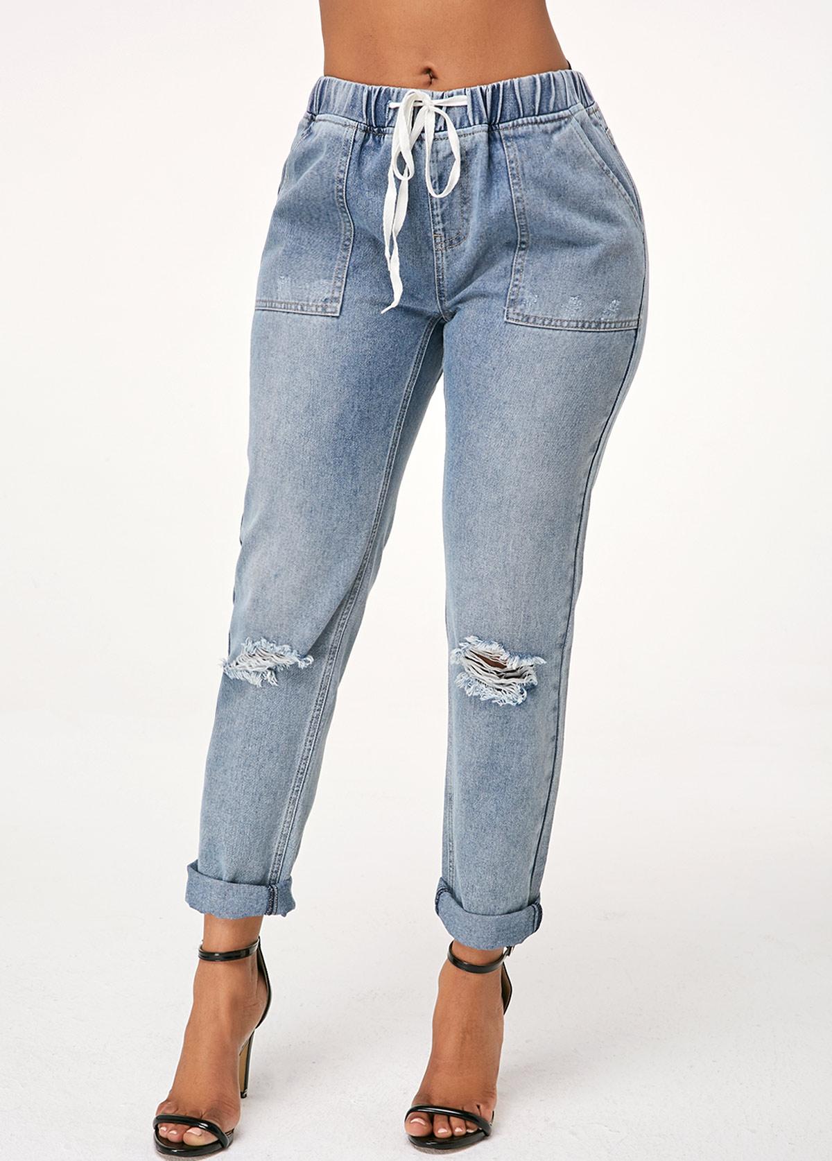 ROTITA Acid Washed Shredded Denim Blue Pants