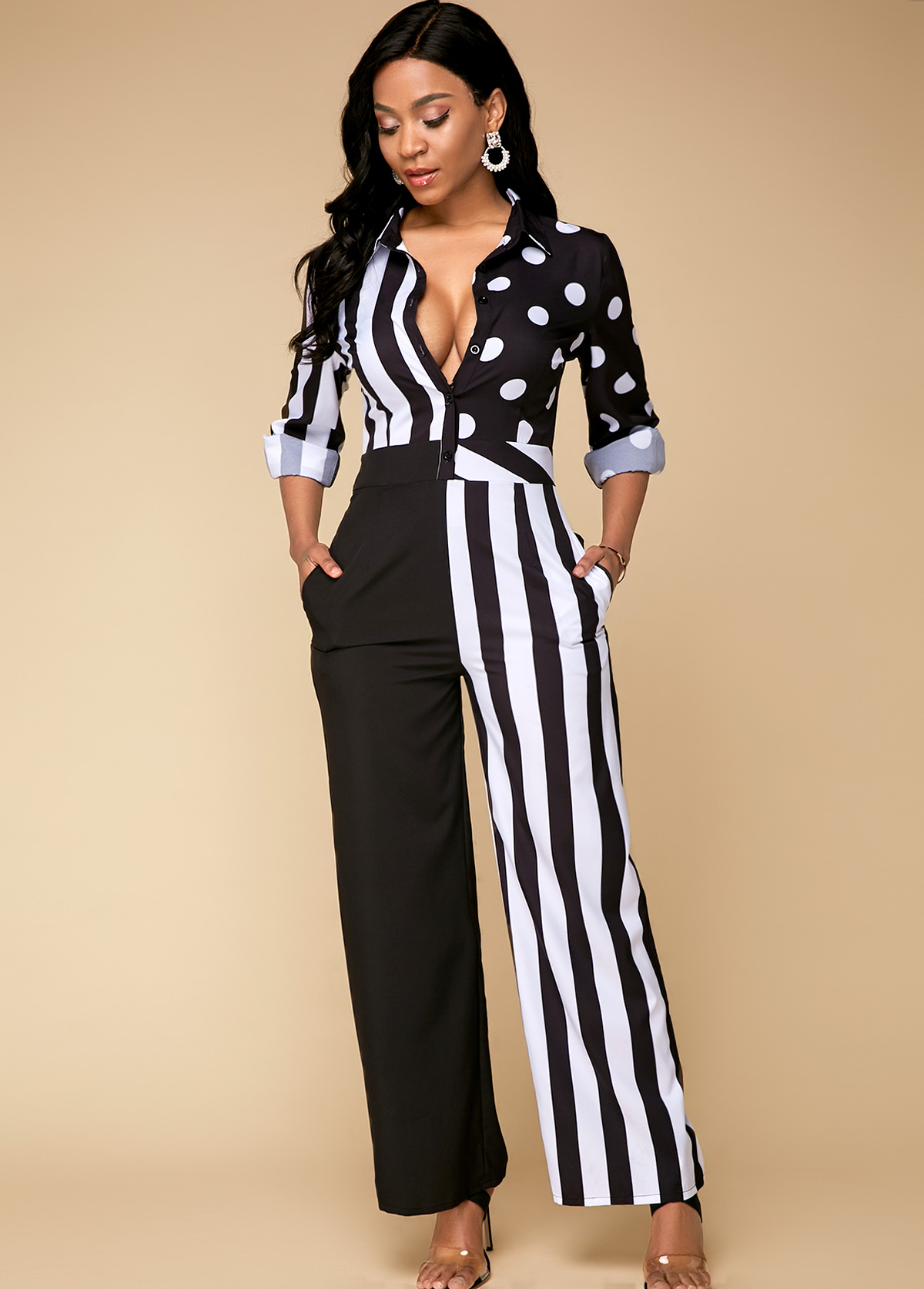 ROTITA Long Sleeve Patchwork Design Striped Jumpsuits