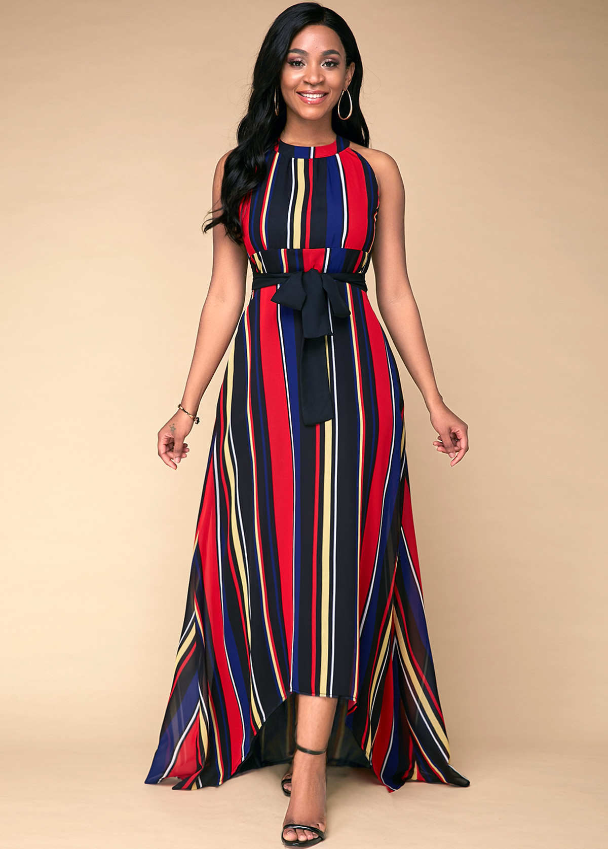 ROTITA Multicolor Striped Printed High Waist Dress