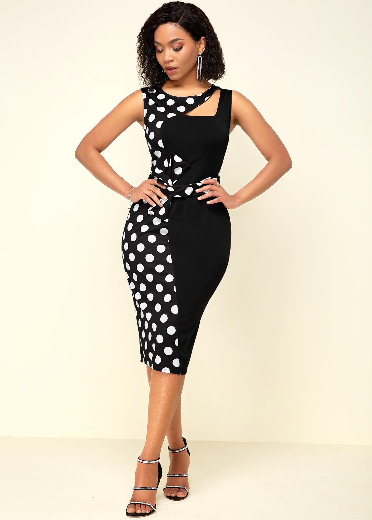 ROTITA Polka Dot Print Black High Waist Dress