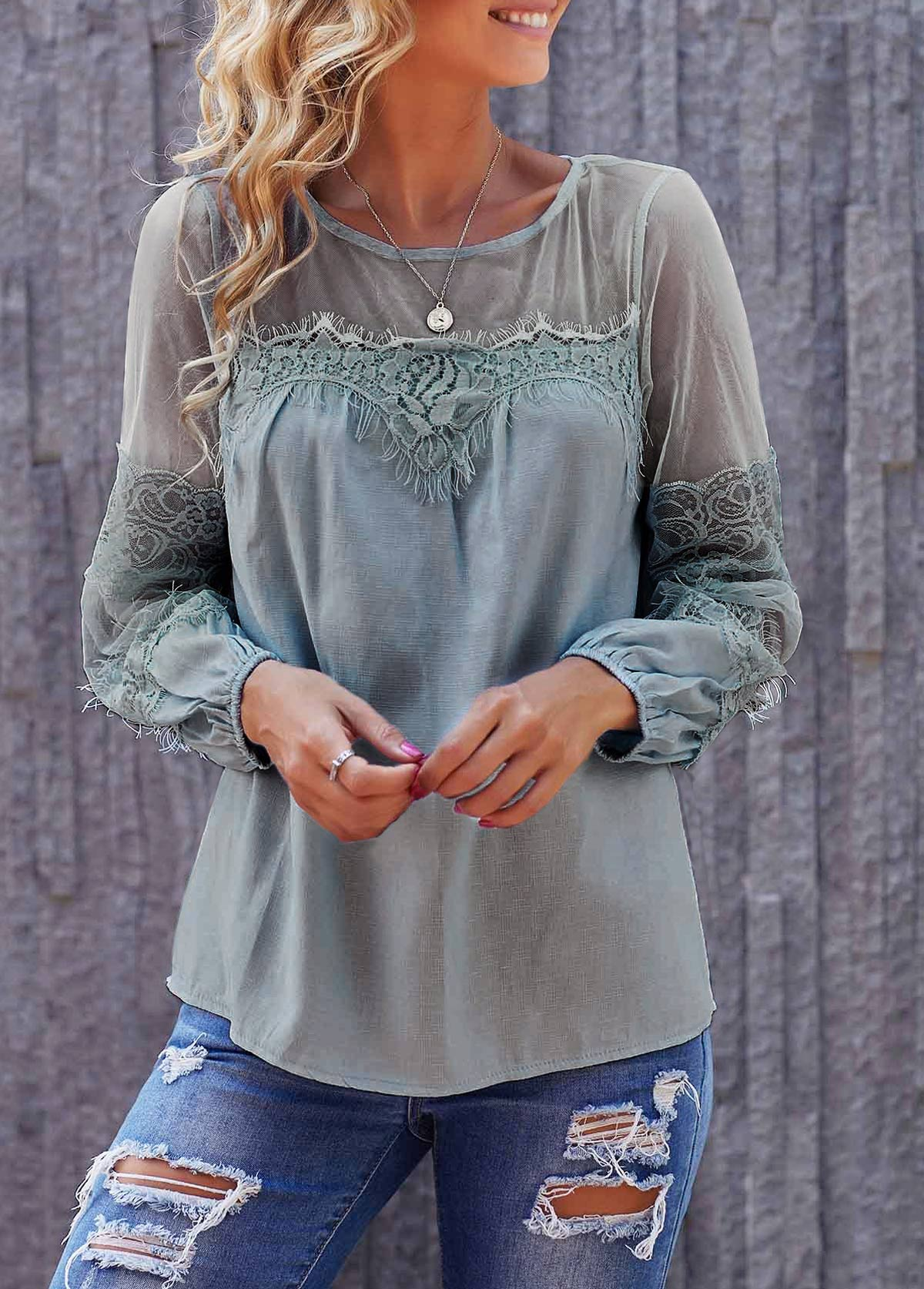 Round Neck Long Sleeve Lace Panel Light Blue Blouse