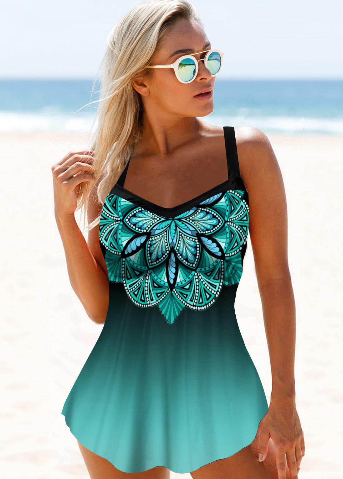 Hollow Back Straps Printed Swimdress and Panty
