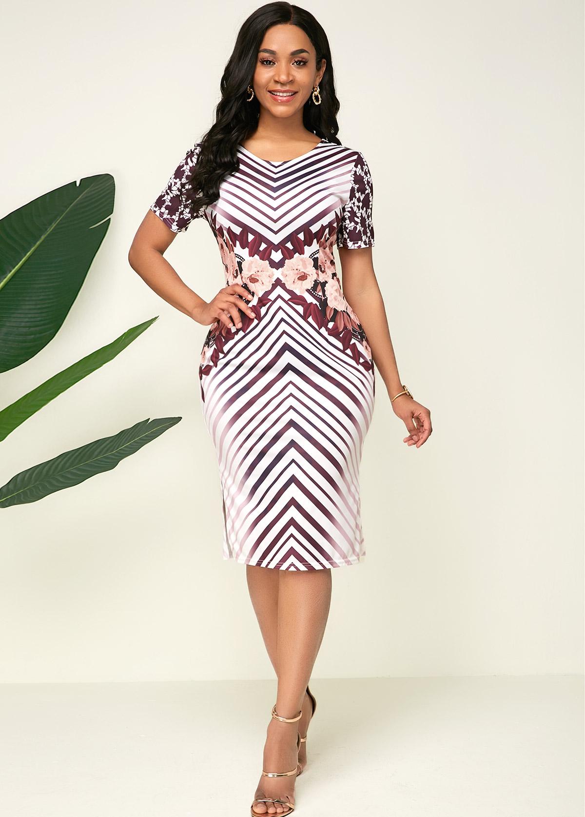 Short Sleeve Striped Side Slit Dress
