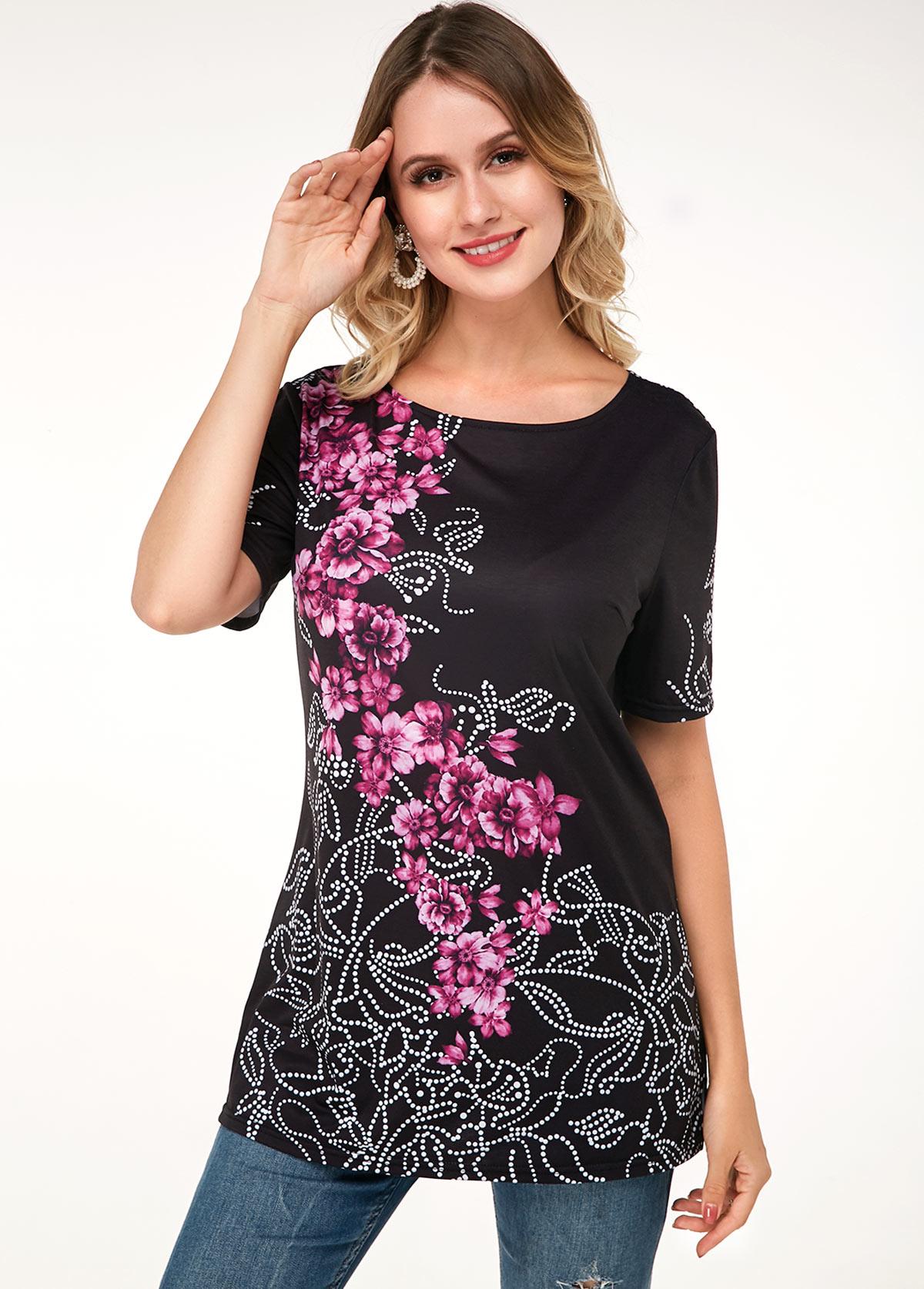 ROTITA Short Sleeve Floral Print Round Neck T Shirt