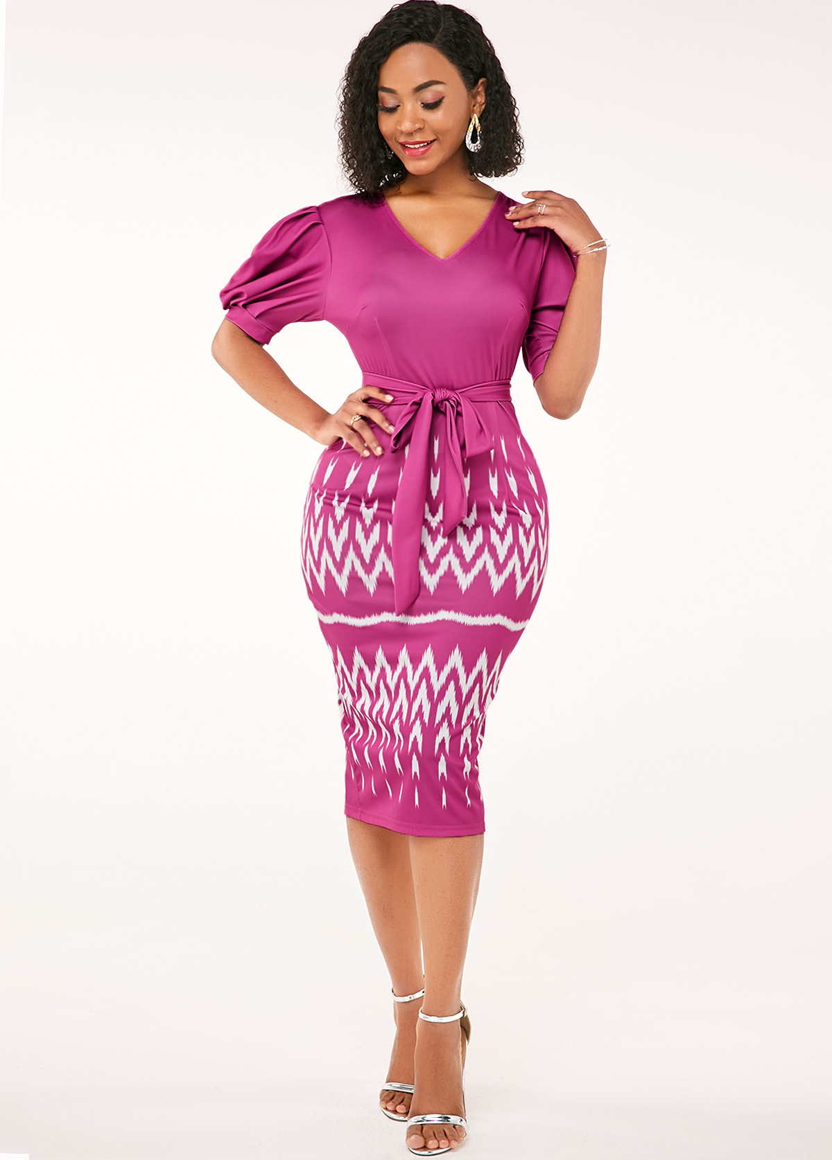 ROTITA Half Sleeve Pink Belted High Waist Dress