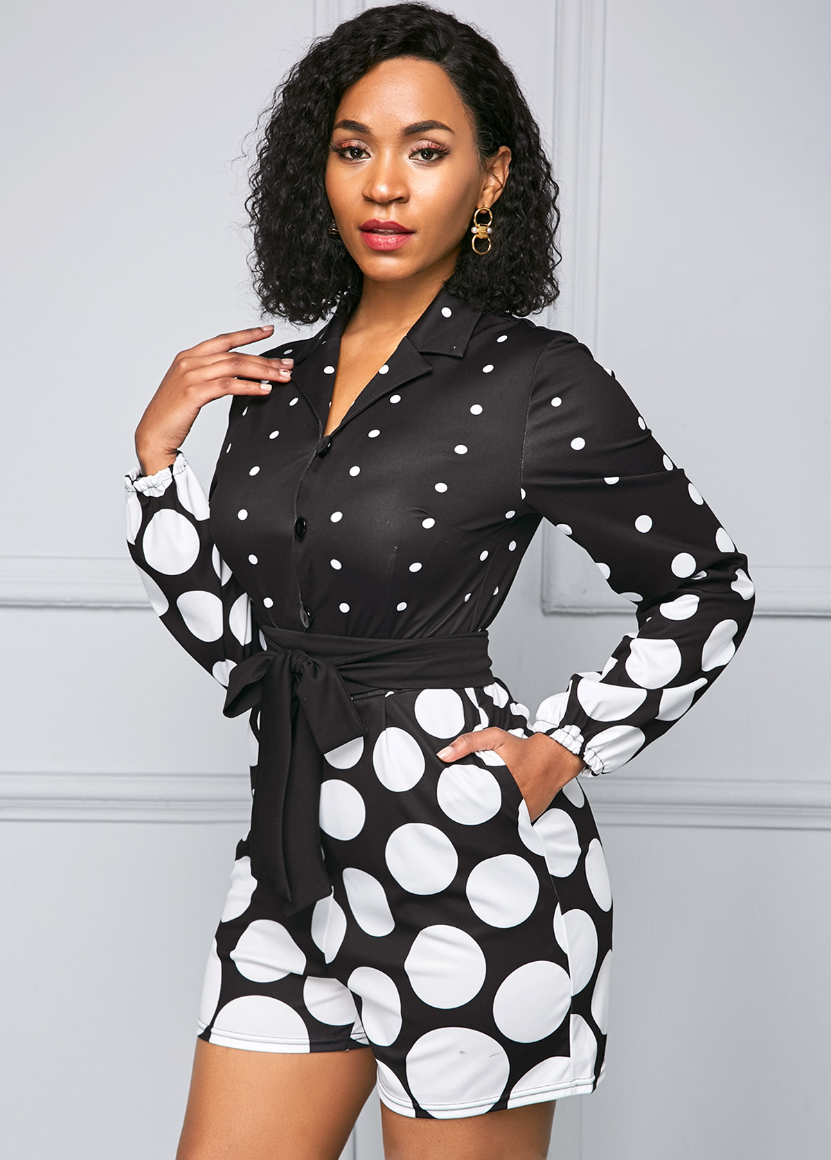 ROTITA Polka Dot Print Long Sleeve Belted Jumpsuit