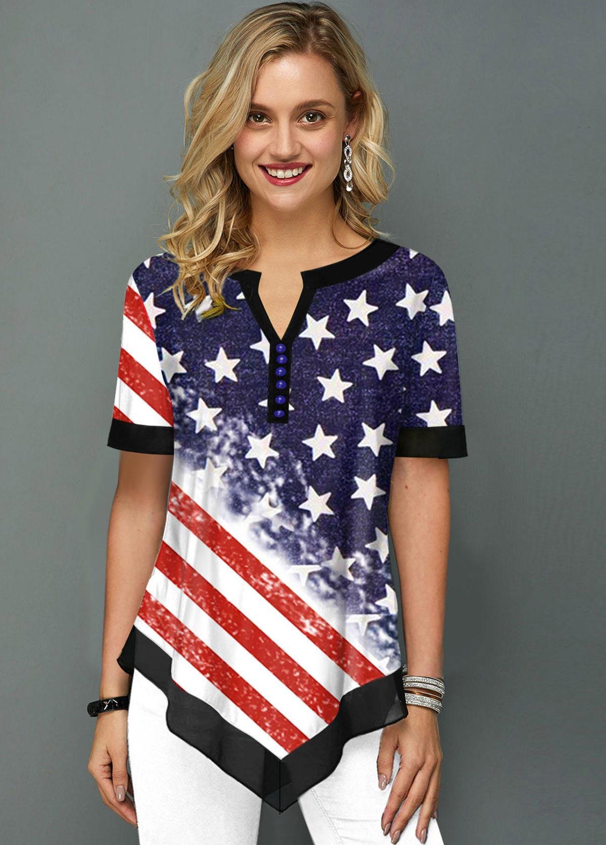 ROTITA American Flag Print Button Detail Short Sleeve Blouse