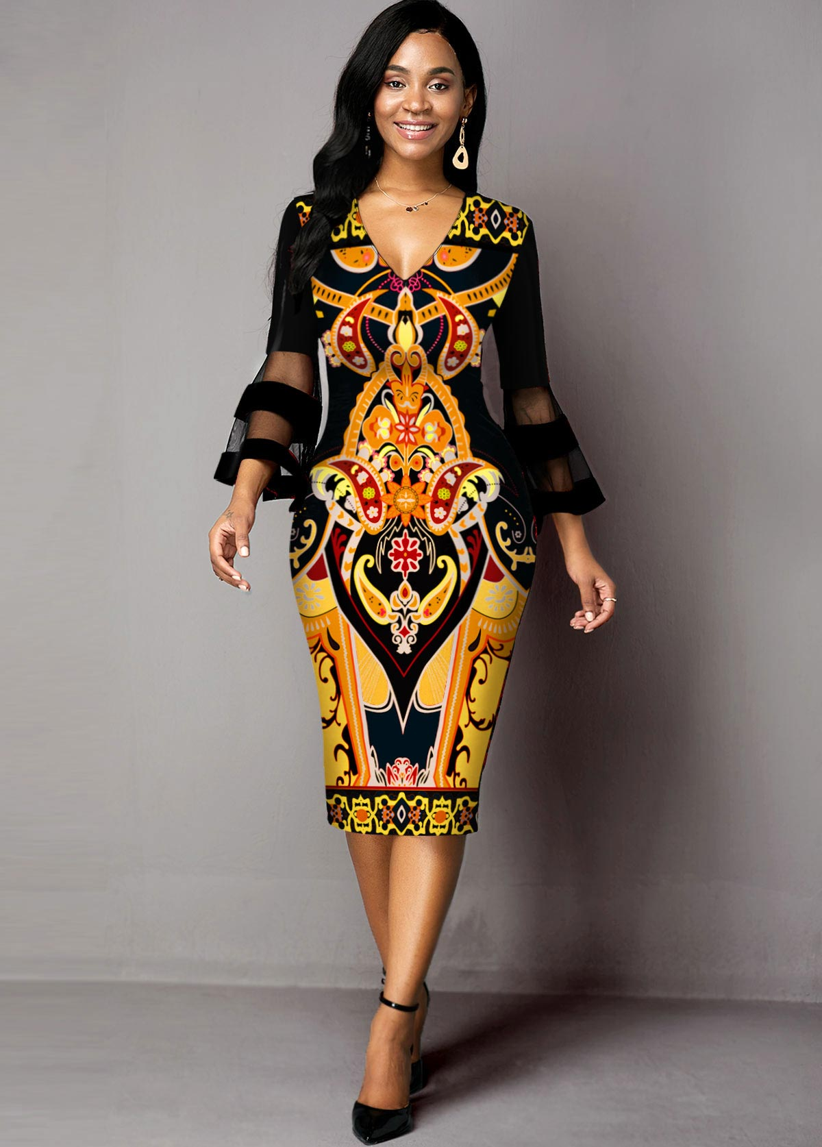 ROTITA Tribal Print Mesh Panel V Neck Dress
