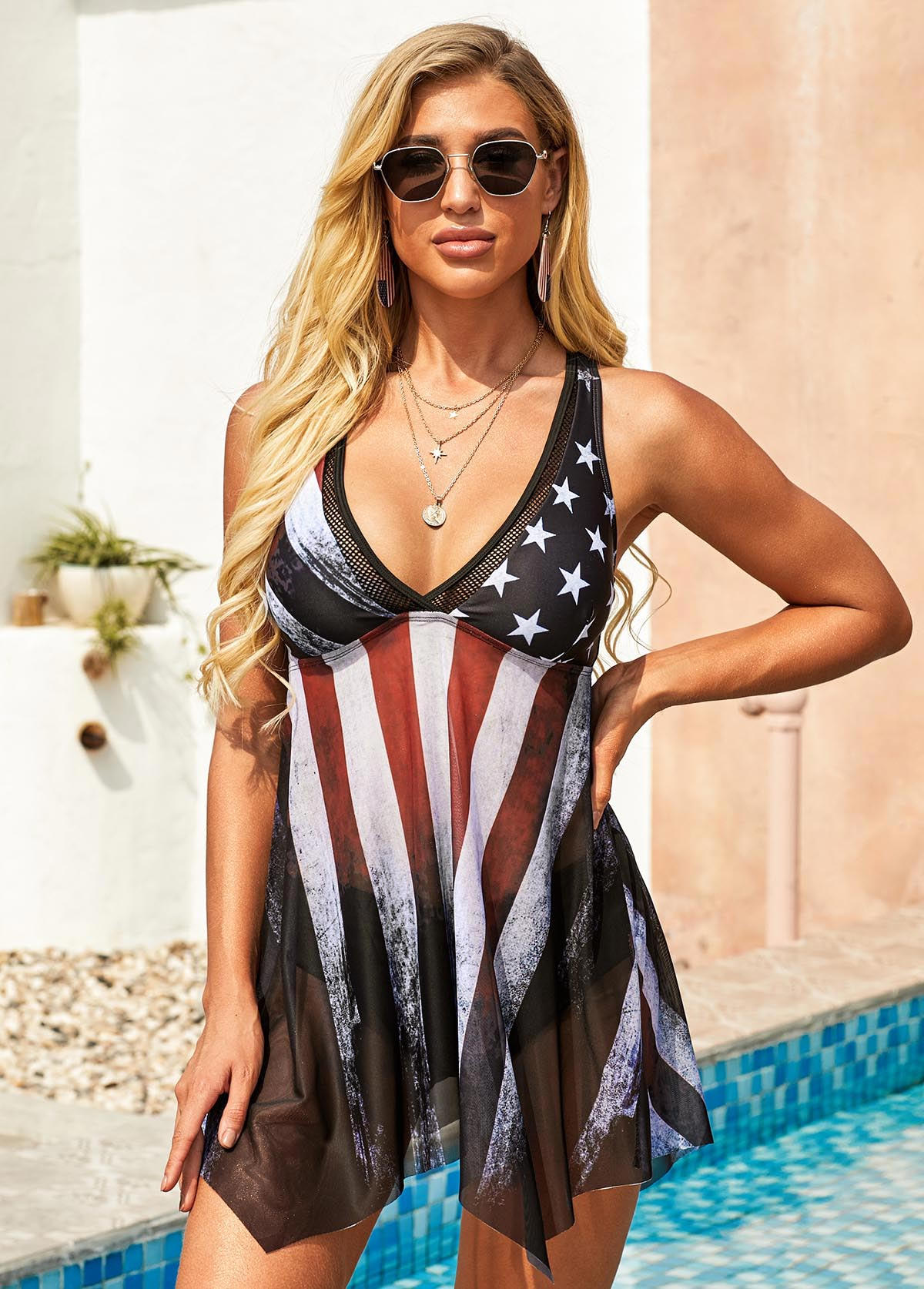 Cross Strap American Flag Print Multi Color Swimdress and Panty