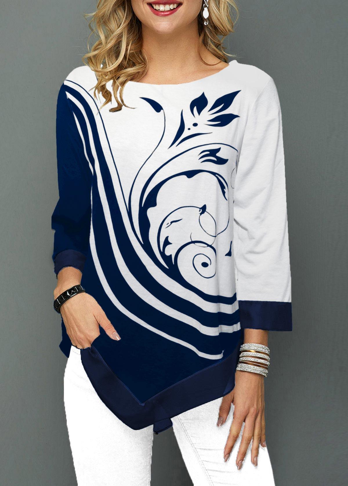 ROTITA Three Quarter Sleeve Navy Blue Printed T Shirt