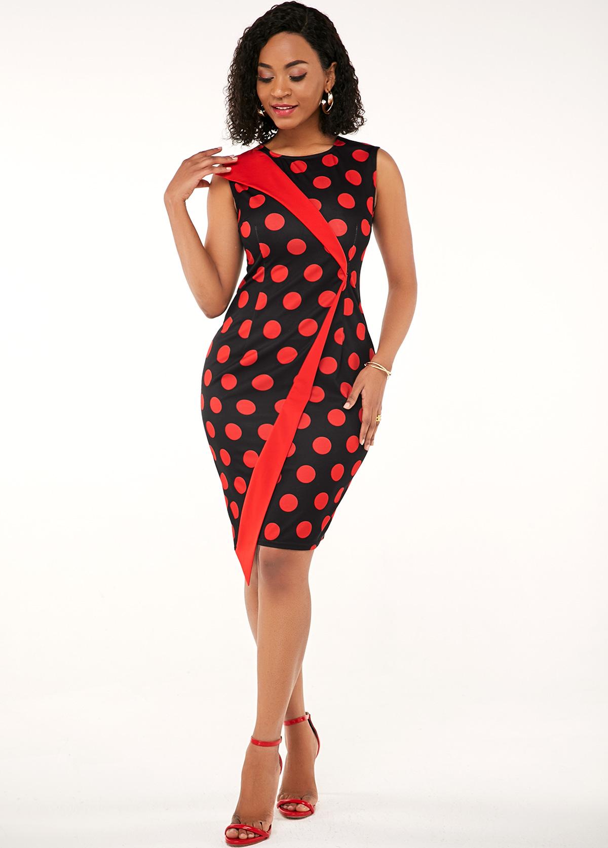 Sleeveless Polka Dot Round Neck Dress