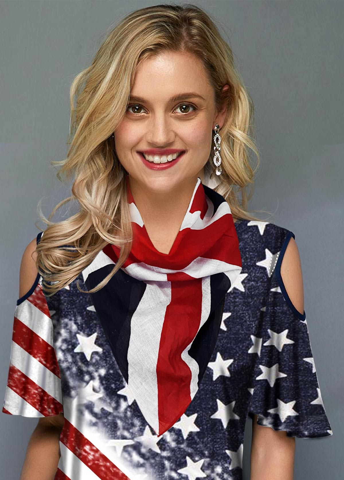 American Flag Print Color Block Beach Scarve