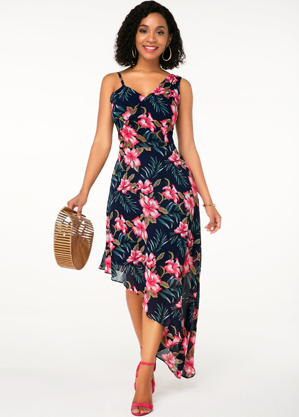 ROTITA Flower Print Sleeveless Asymmetric Hem Maxi Dress