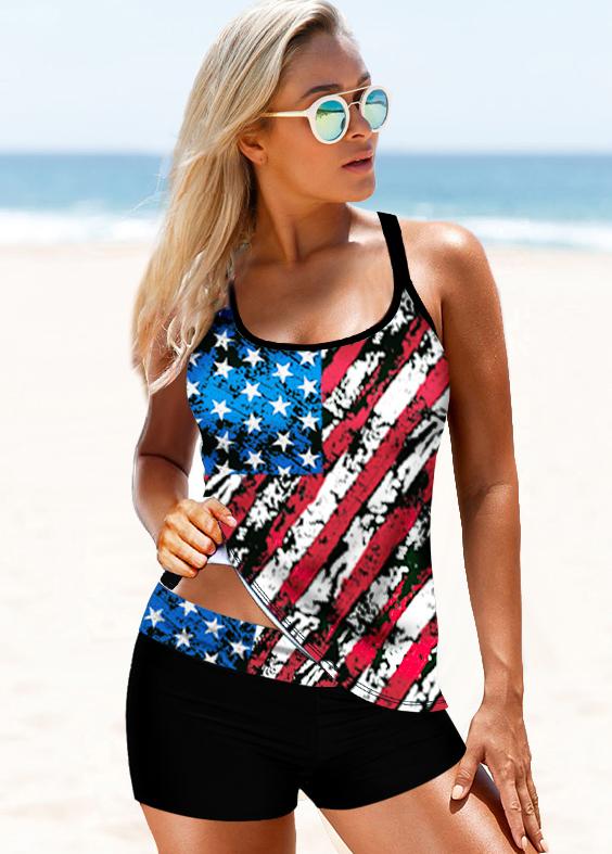 Cross Strap Multi Color American Flag Print Tankini Set