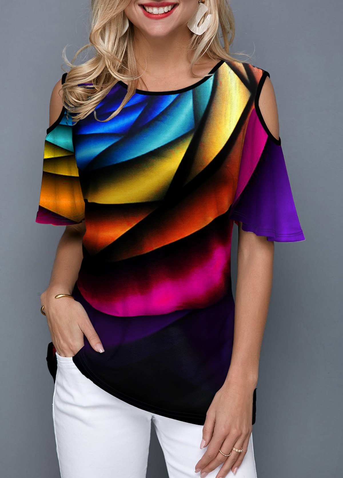 Half Sleeve Rainbow Print Round Neck T Shirt