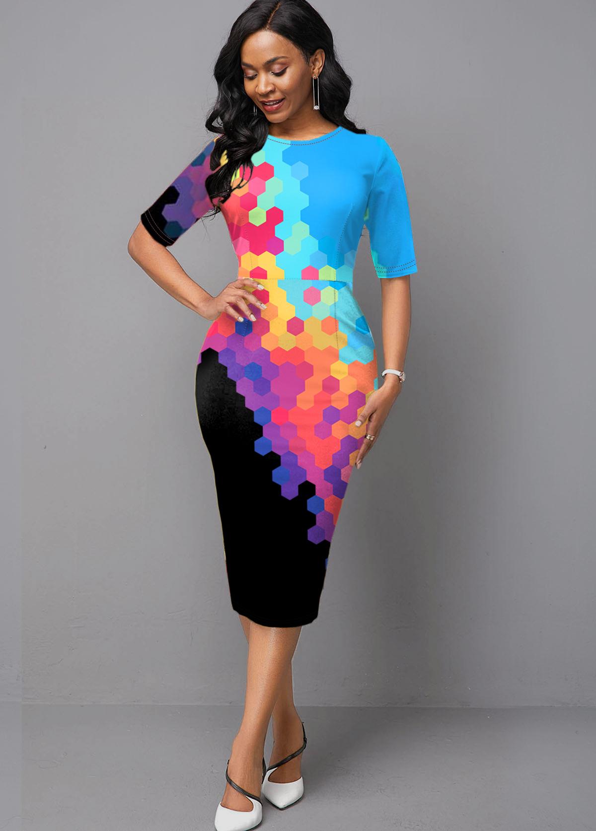 Printed Gradient Rainbow Color Half Sleeve Boat Neck Dress