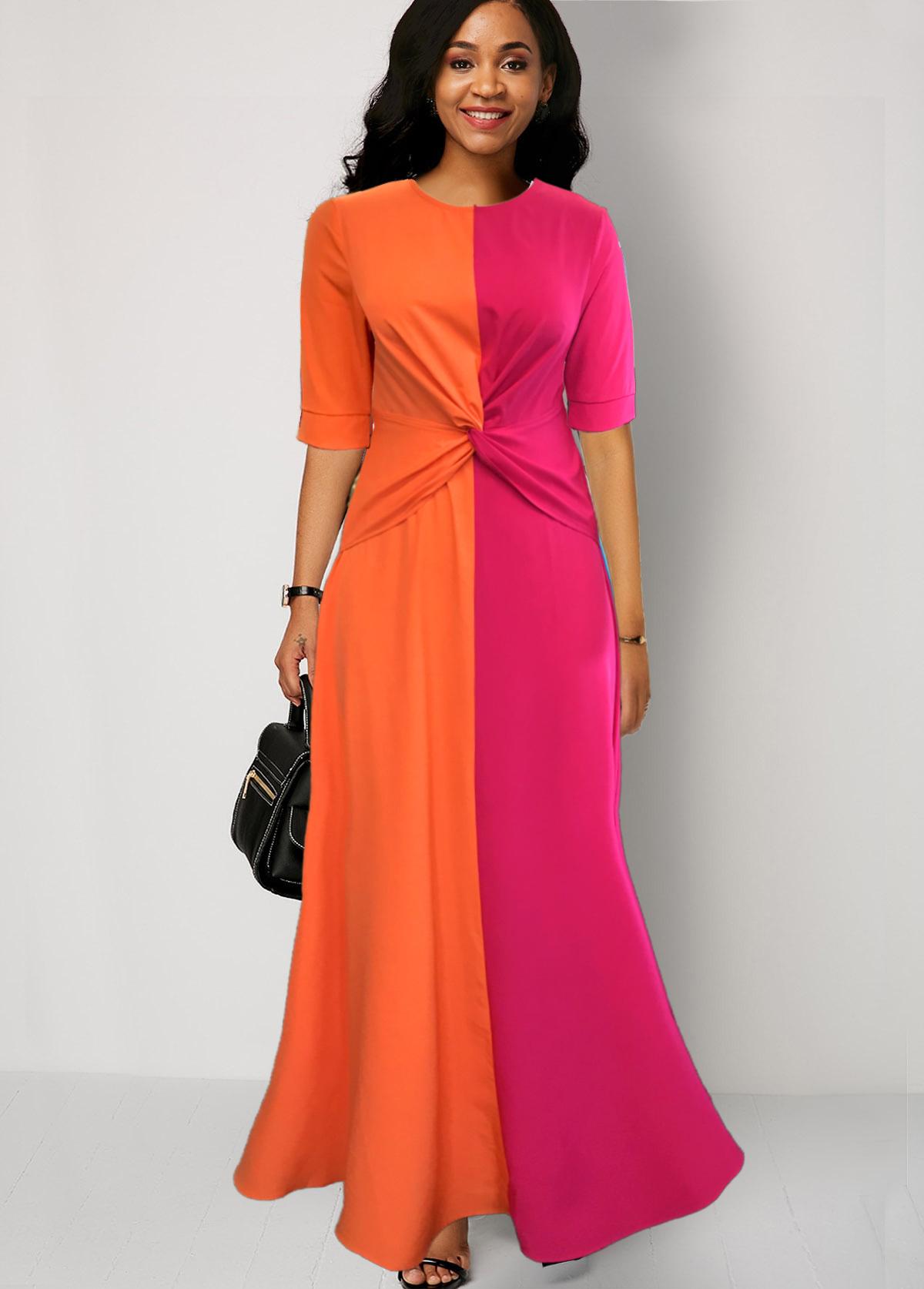 Round Neck Half Sleeve Color Block Maxi Dress