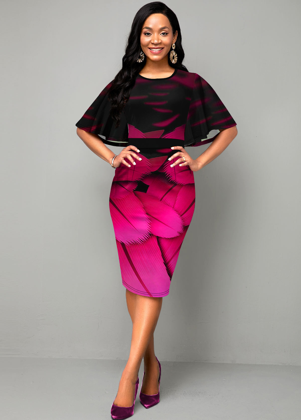 Half Sleeve Ruffle Overlay Feather Print Dress