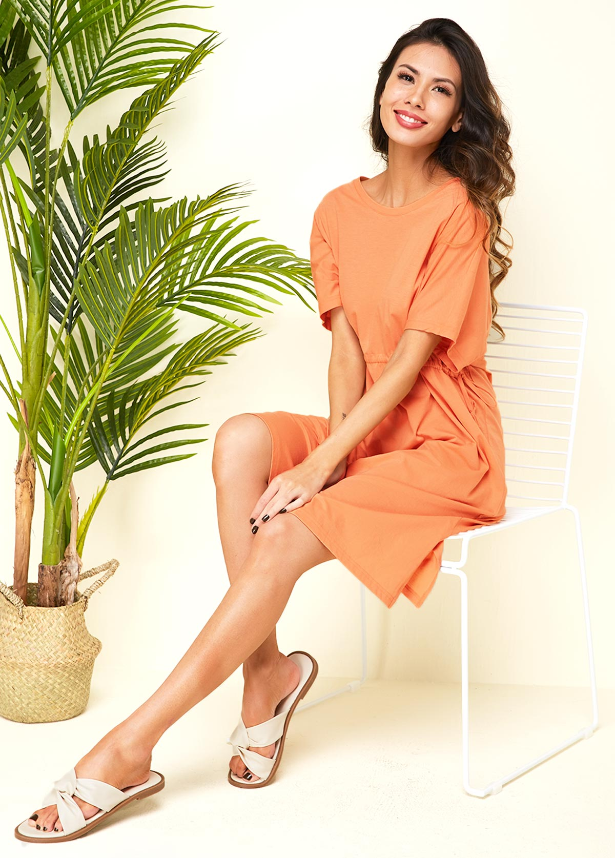 ROTITA Half Sleeve Orange Drawstring Waist Dress