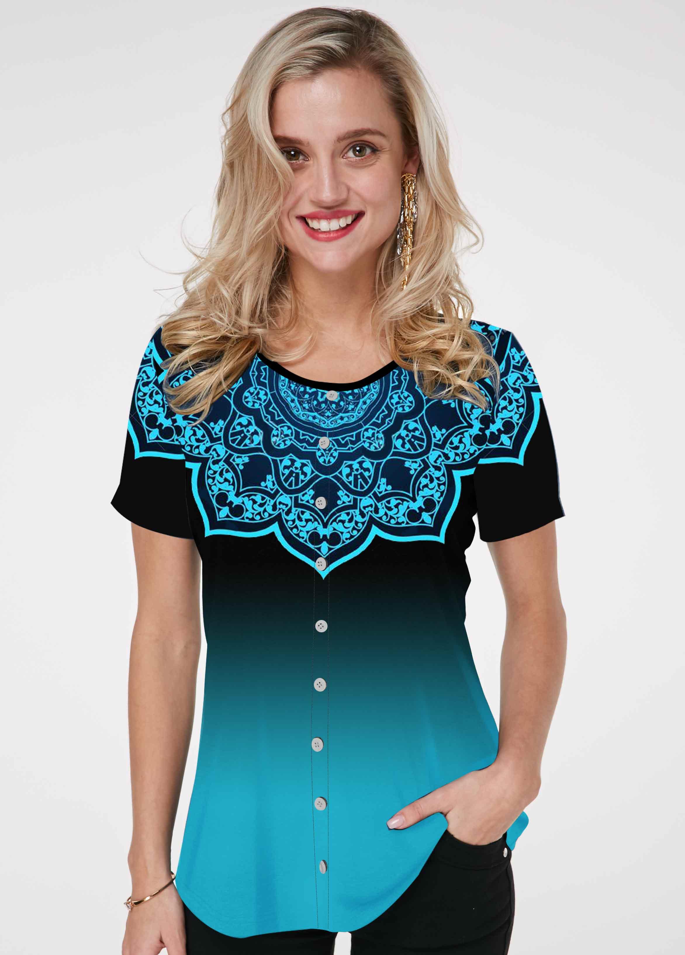 Short Sleeve Flower Print Round Neck T Shirt