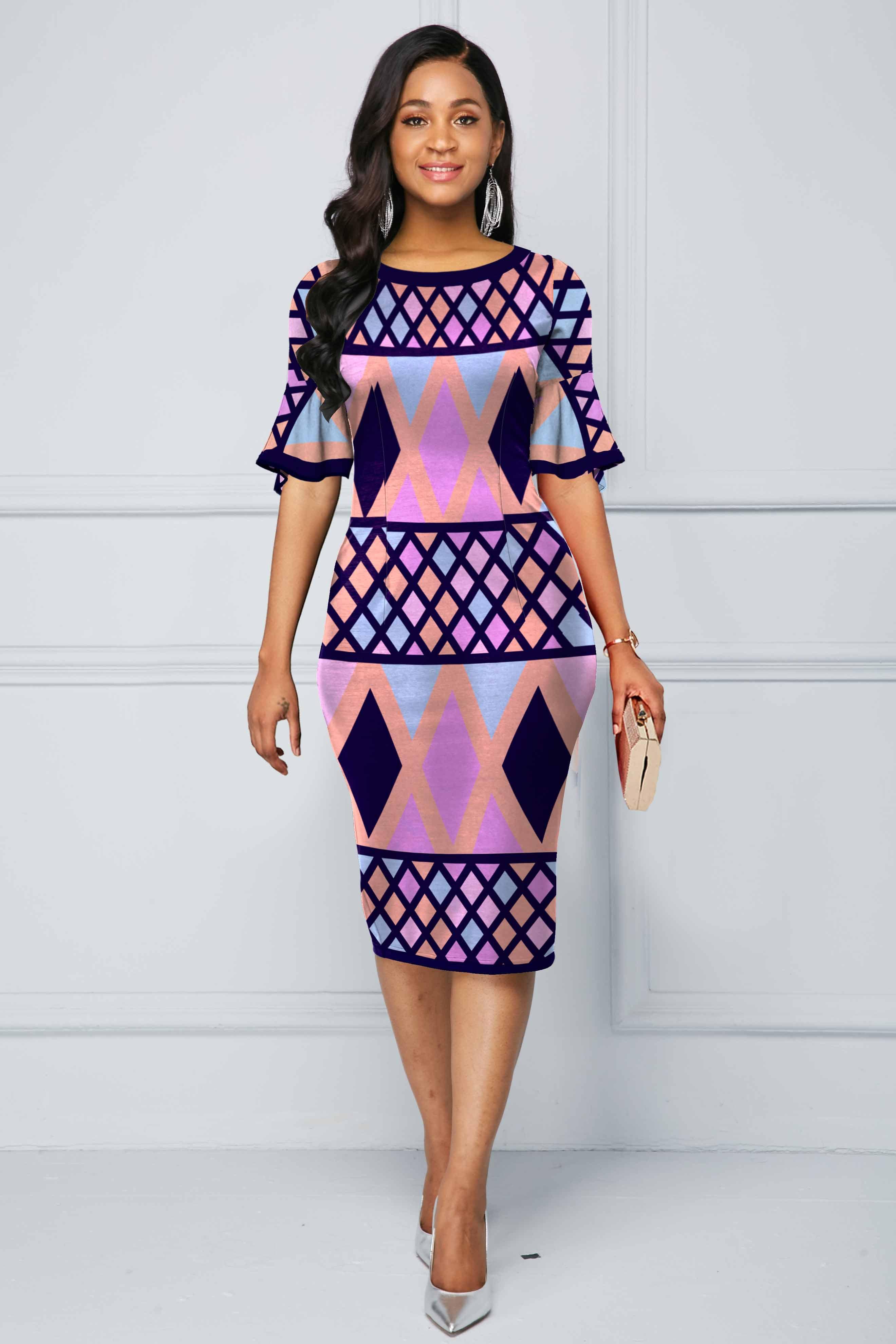 Multi Color Flare Sleeve Geometric Print Dress