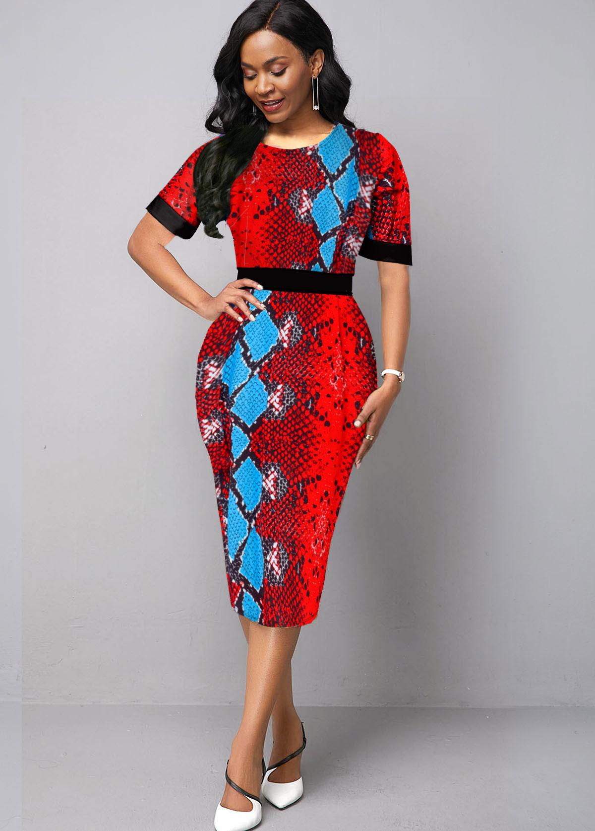 Half Sleeve Snake Pattern Red Round Neck Dress