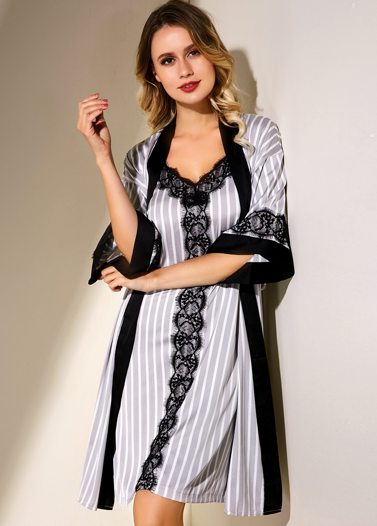 ROTITA Stripe Print Lace Panel Pajama Set