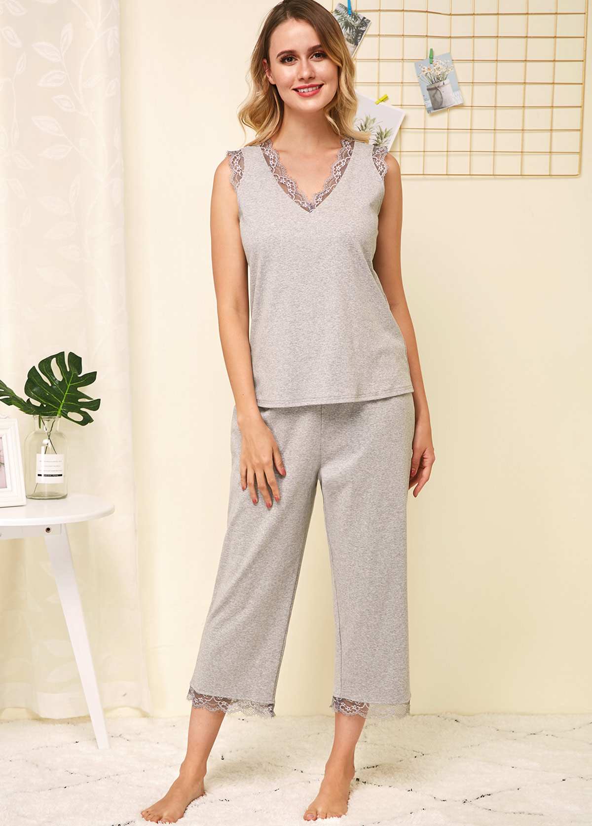 ROTITA Lace Patchwork Sleeveless Grey Lounge Top and Pants