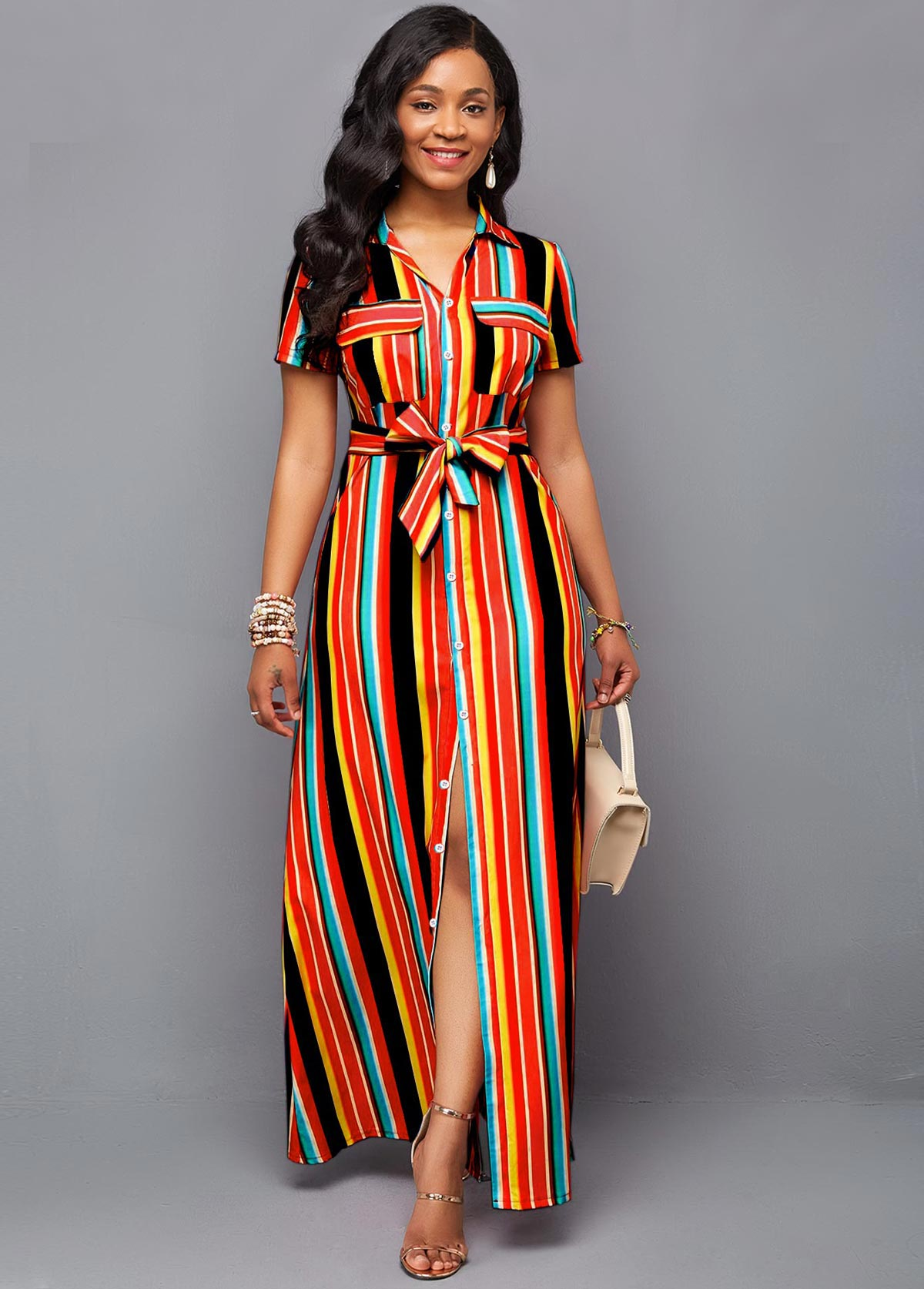Belted Rainbow Color Stripe Print Maxi Dress