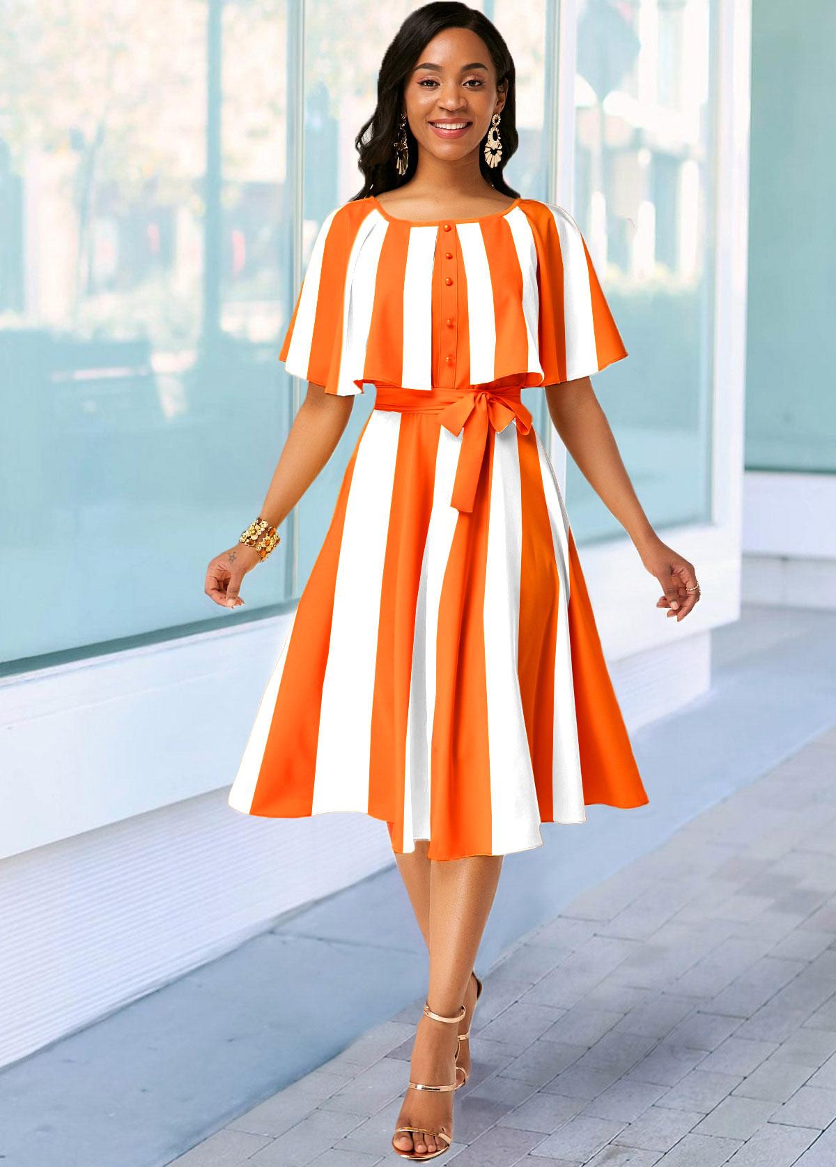 Belted Striped Cape Sleeve Orange Dress