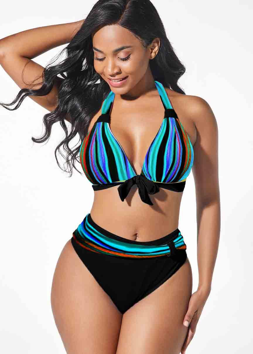 Bowknot Decorated Halter Mid Waist Bikini Set