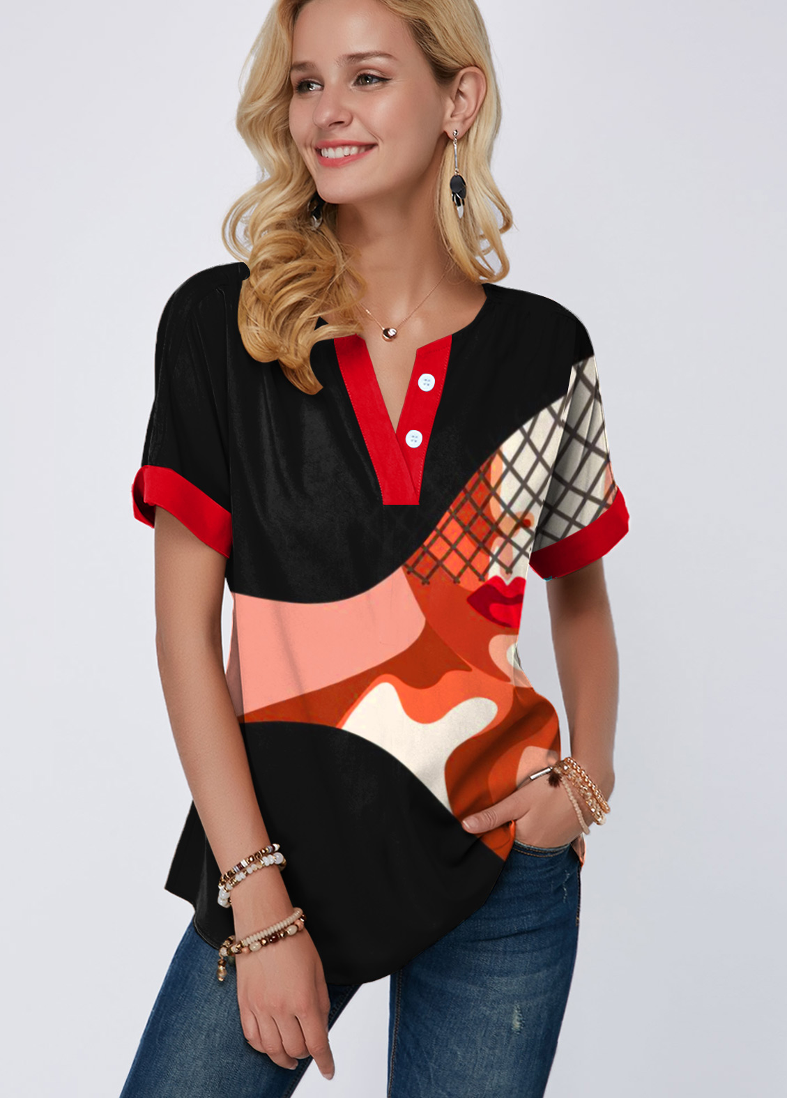 ROTITA Short Sleeve Geometric and Portrait Print Blouse